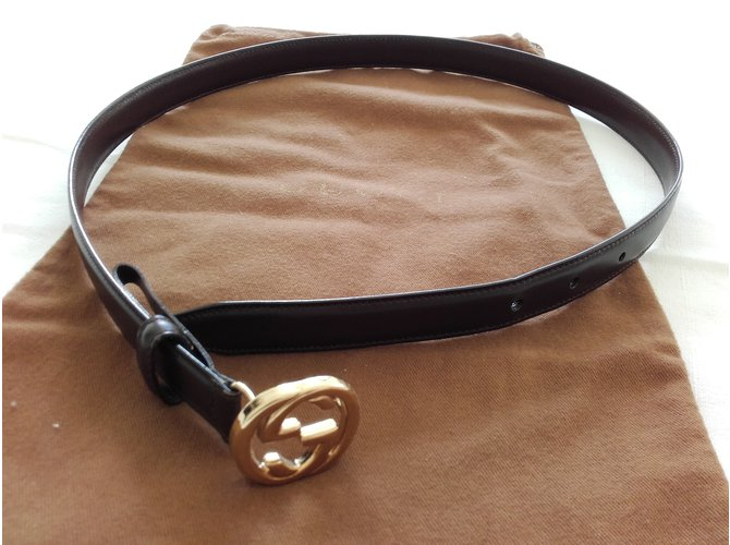 Gucci Belt Belts Leather Dark brown ref.69790 - Joli Closet 76863d4f179