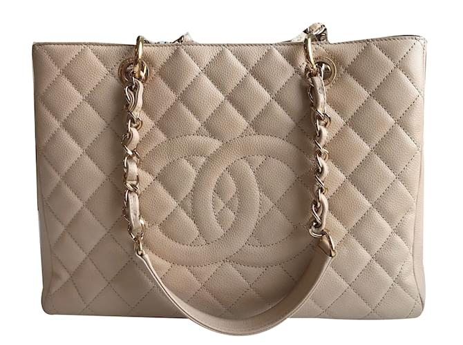 7b9824f6c4cb Chanel Chanel GST Grand Shopping Tote Handbags Leather Beige ref.69959
