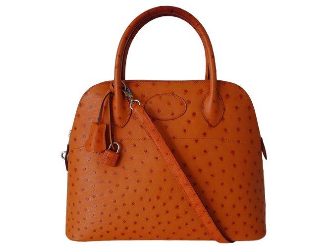 Sacs à main Hermès SAC HERMES BOLIDE AUTRUCHE 31 Cuirs exotiques Orange ref.69994