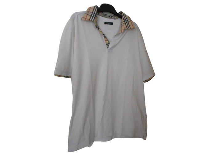 Polos Burberry Polo blanc col écossais beige et noir Coton Blanc cassé  ref.70014 60c59f3d313