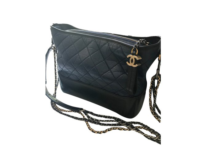 b196dcc0bee12f Chanel Gabrielle Handbags Leather Navy blue ref.70017 - Joli Closet