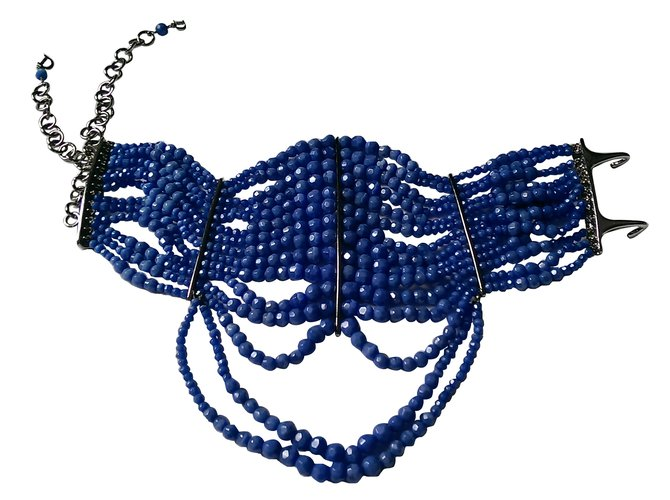 Colliers Dior Masai collection Métal,Perle Bleu ref.70048