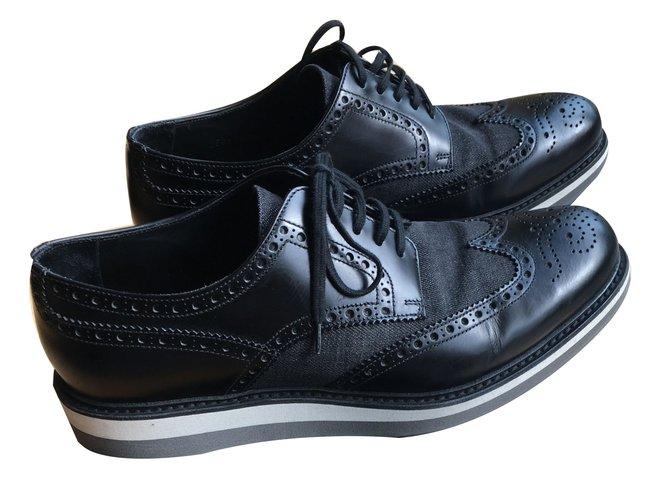 Prada mens shoes Lace ups Leather Black