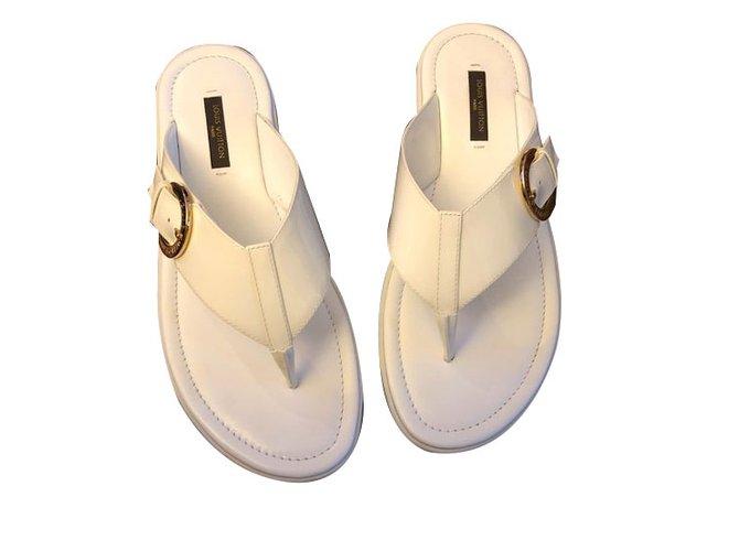 b39a9271728c Louis Vuitton Sandals Sandals Patent leather White ref.70314 - Joli ...