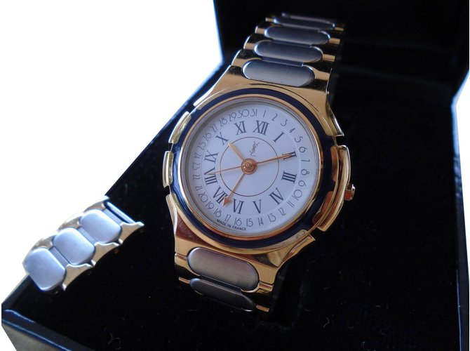 9b35396e56d Yves Saint Laurent Watch Fine watches Steel Golden ref.70361 - Joli ...