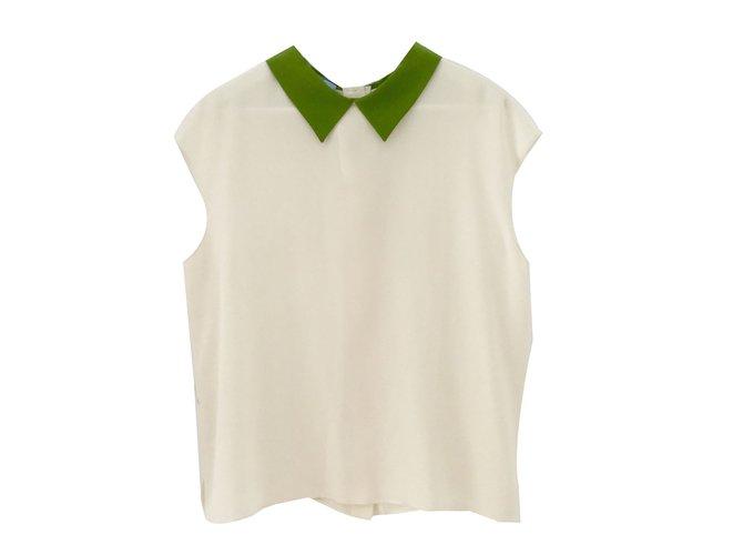 15d829d4c85a64 Prada Top Tops Silk Cream ref.70471 - Joli Closet