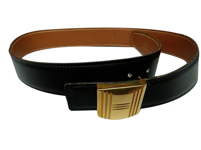 Hermès Kelly H Belts Leather,Gold-plated Black ref.70556