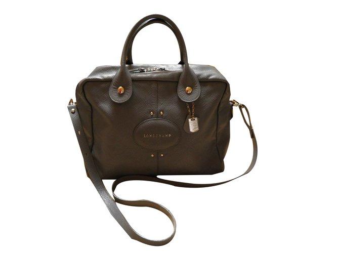 Longchamp Quadri Handbags Leather Grey Ref 70587 Joli Closet