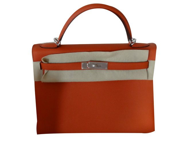 Hermès KELLY Orange Leather  ref.70622