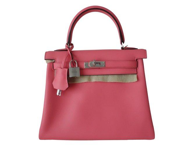 eb28e5e69383 Hermès Kelly 25 Handbags Leather Pink ref.70630 - Joli Closet