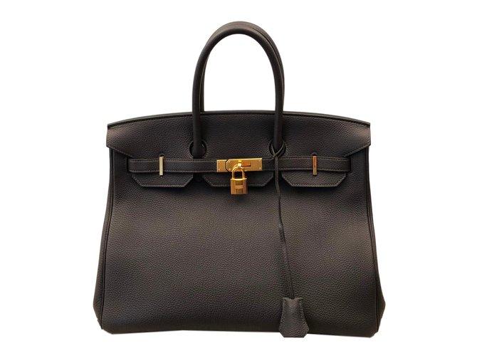 Sacs à main Hermès Birkin 35 Cuir Gris ref.70656