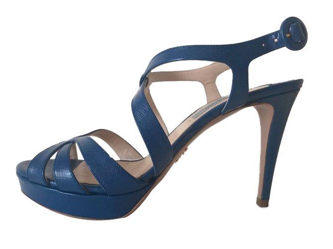 Joli Prada Ref Sandales Cuir Bleu 70693 Closet xqBq1XHwA