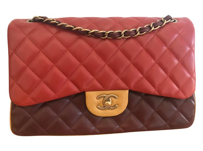 4013592bb55a34 Chanel Jumbo Handbags Lambskin Beige,Orange,Dark red ref.70954 ...