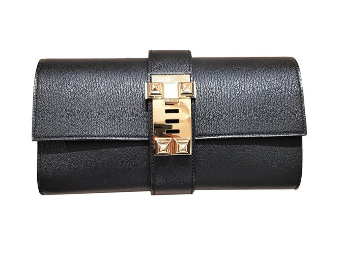 b4d0e4f357ce Hermès Black Chevre Medor 23cm Clutch bags Leather Black ref.71150 ...