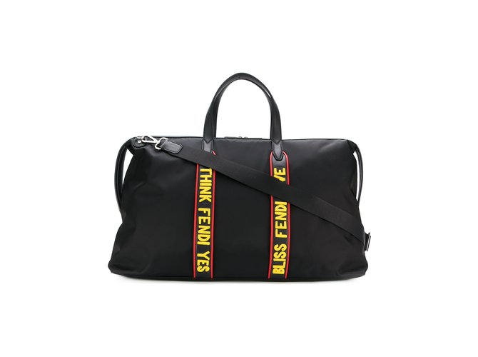 96bb62d5de ... clearance fendi slogan holdall bag travel bag nylon black ref.71331  82cd7 3fa22