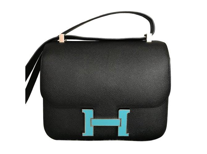 Sacs à main Hermès Constance 24 Cuir Noir ref.71426