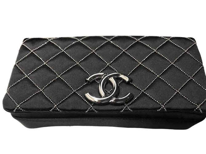 ad2f3901e471 Chanel CHANEL Black Satin mini sac pochette evening bag Handbags Satin  Black ref.71453