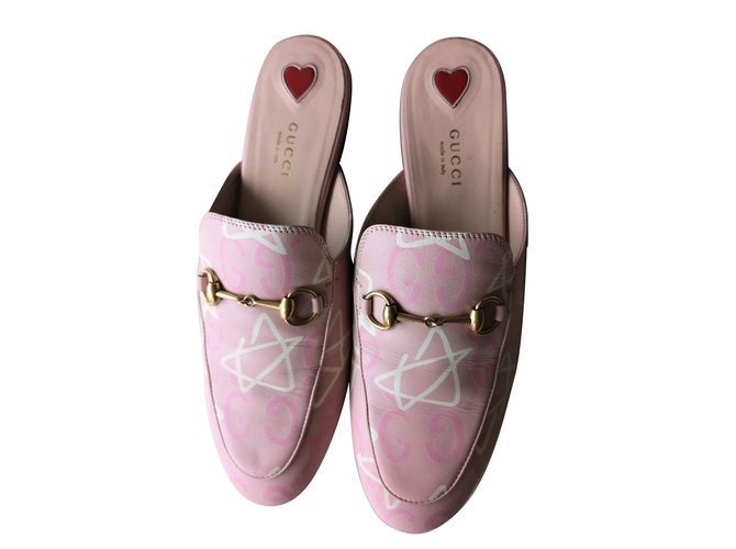 f8a2d6475 Gucci Princetown Pink Limited Japan Edition Flats Mules Leather Pink  ref.71456