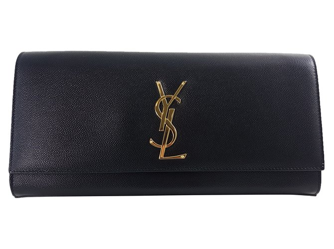 bc28cefd15aa Saint Laurent Cassandre Leather clutch Clutch bags Leather Black ref.71513