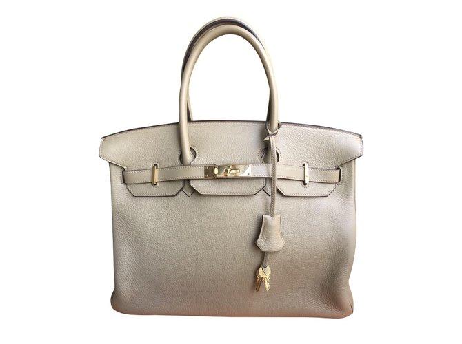 Hermès Birkin 35 clemence Handbags Leather Beige ref.71636