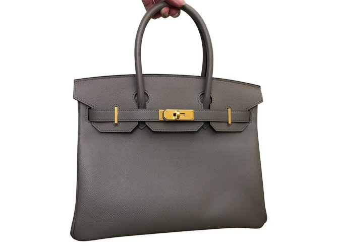 Hermès Birkin 30 Handbags Leather Grey ref.71750