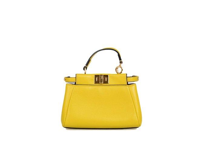 47600444da Fendi peekaboo Mini Handbags Leather Yellow ref.71760 - Joli Closet