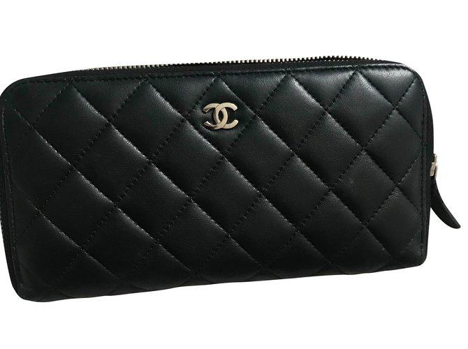 Portefeuilles Chanel Portefeuille Cuir Noir ref.71895 - Joli Closet ba245f4fad9