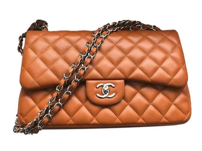 Sacs à main Chanel Timeless classique Jumbo cuir caviar Cuir Caramel ref.71926