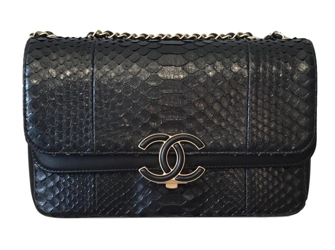Chanel Python Handbag Handbags Black Ref 71962