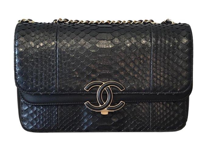 Chanel Chanel Python Handtasche Handtaschen Python Schwarz ref.71962