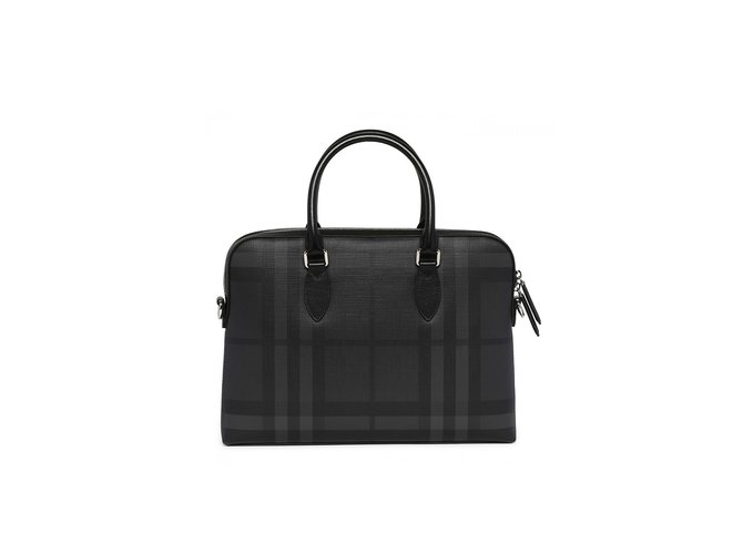 Burberry London Check Slim Barrow tote Bags Briefcases Other Grey ref.72222 2b0fe2337e765