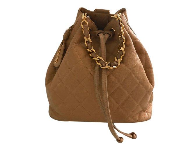 Chanel Vintage backpack Backpacks Leather Beige ref.72252