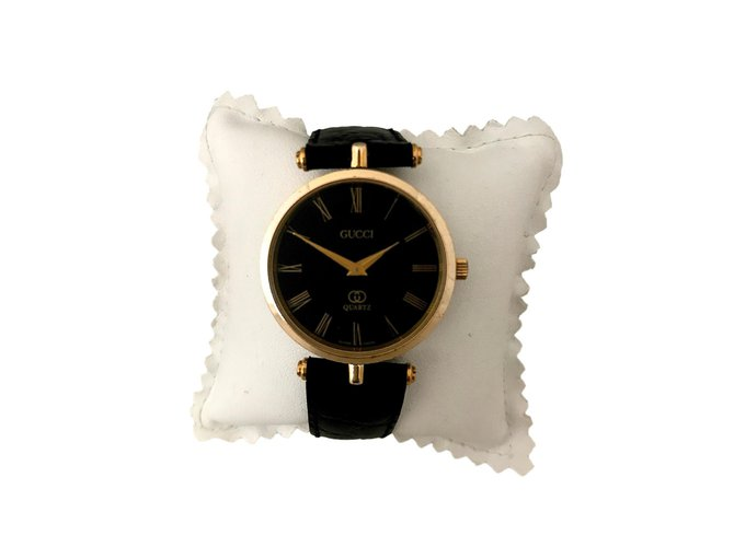 c6ac9ad9154 Gucci watch Fine watches Gold-plated Black ref.72286 - Joli Closet