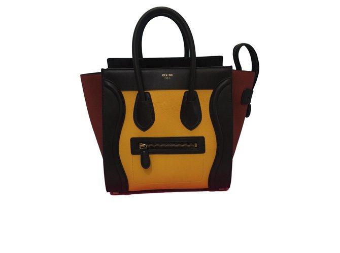 c2f21747a501 Céline Micro luggage Handbags Leather Yellow ref.72417 - Joli Closet