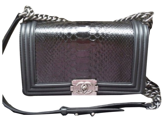 Chanel Handbags Handbags Leather,Python Black ref.72650