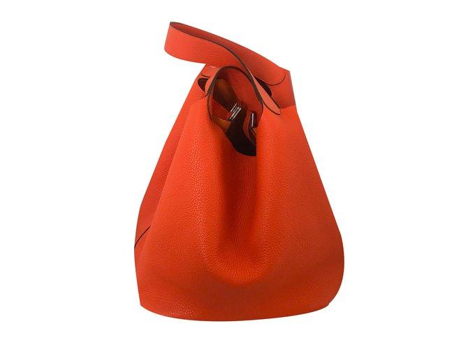Sacs à main Hermès Picotin Lock 31 Cuir Orange ref.72664