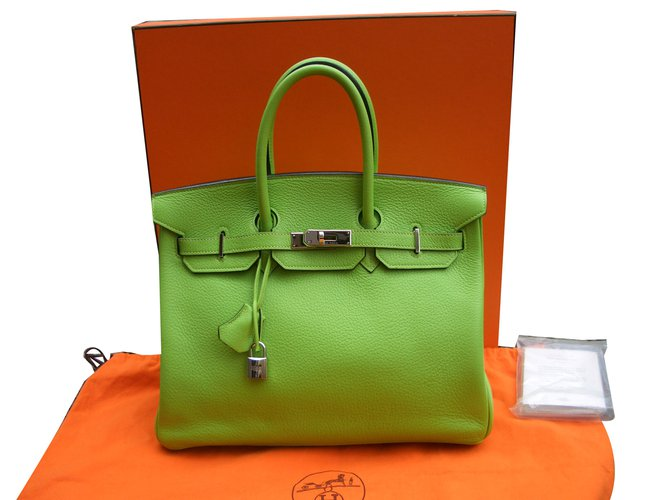 Sacs à main Hermès birkin 35 Cuir Vert ref.72682