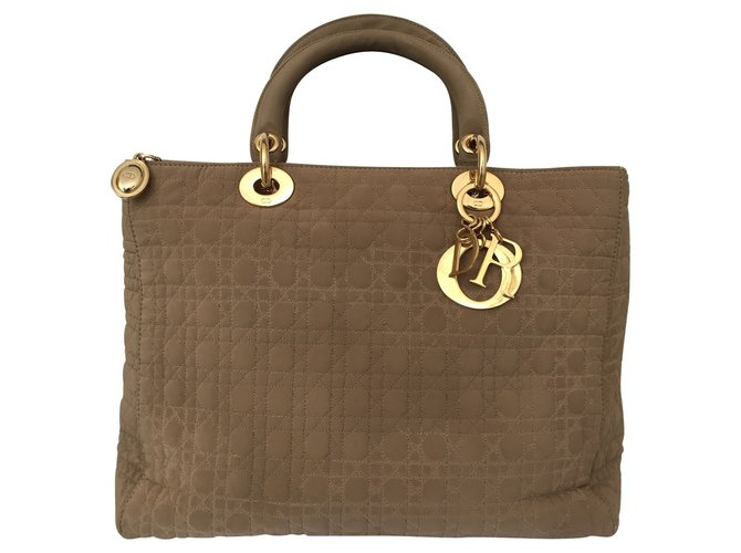 f0cc10af93a Christian Dior Lady Dior bag Handbags Nylon Beige ref.72931 - Joli ...