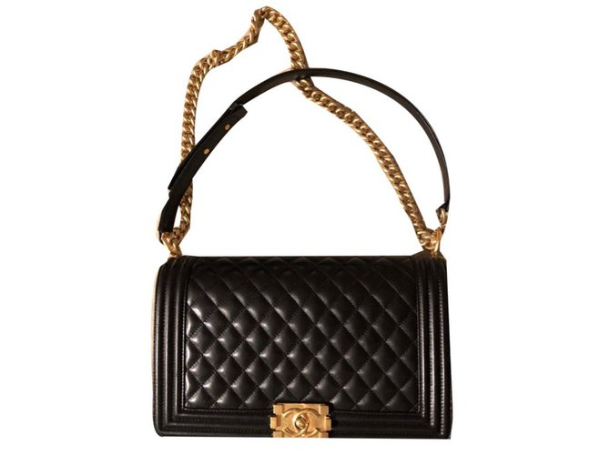 Chanel Boy Handbags Leather Black ref.72935