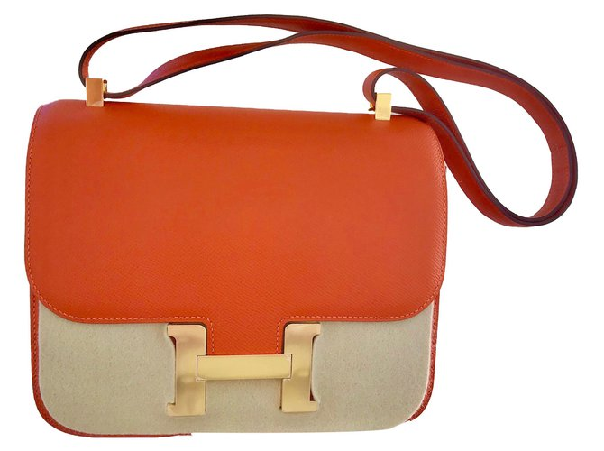 Hermès Constance Handbags Leather Orange ref.72953