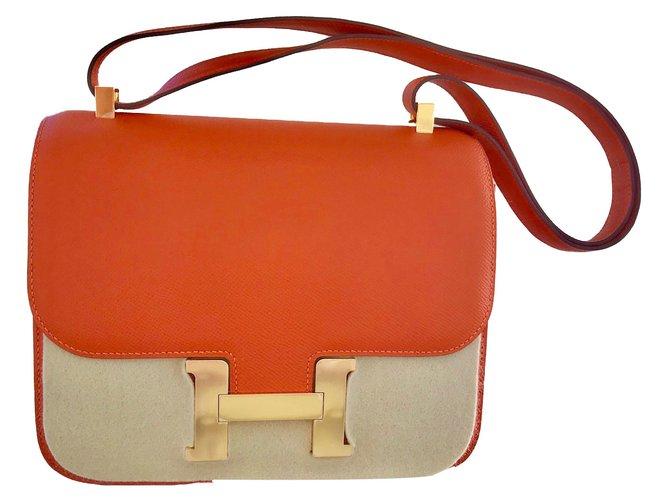 Sacs à main Hermès CONSTANCE Cuir Orange ref.72953