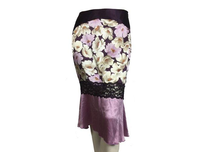 Karen millen silk skirt with lace appliques skirts silk multiple
