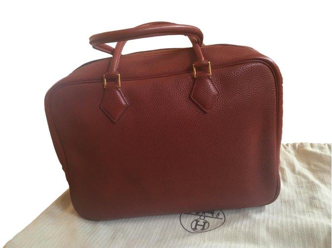 Hermès Plume Handbags Leather Copper ref.73084