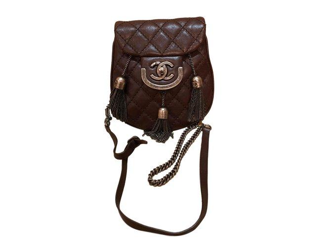 Chanel Clutch brown flap Handbags Leather Dark brown ref.73248 ... a1022250727ce