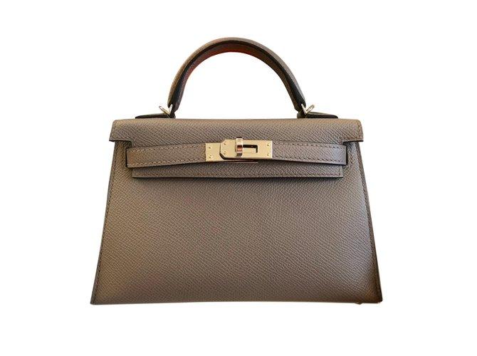 Sacs à main Hermès Mini Kelly II Cuir Gris ref.73253