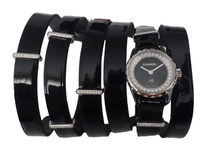 Montres Chanel MONTRE MANCHETTE J12 XS Acier Noir ref.73387