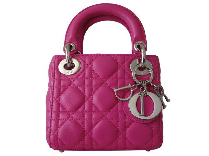 e2da20b6430e Christian Dior mini lady dior Handbags Leather Pink ref.73390 - Joli ...