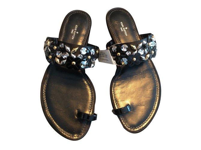 ab5782866 Louis Vuitton sandals Sandals Leather Black ref.73459 - Joli Closet