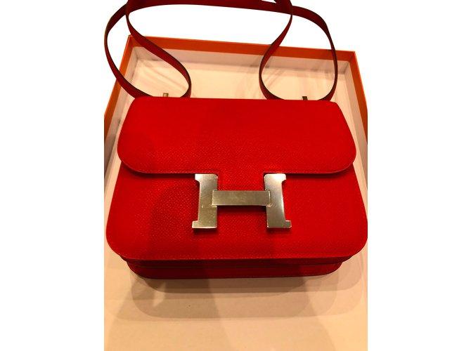 Sacs à main Hermès Constance 18 Argent Rouge ref.73544