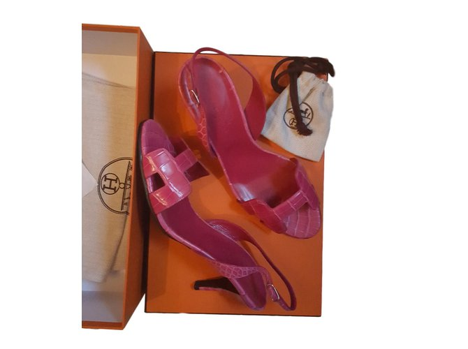 Sandales Hermès Sandale night Cuirs exotiques Rose ref.73619